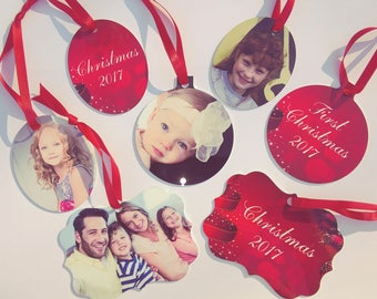 Photo Christmas Ornament With Your Photo - Comes in velvet drawstring bag ready for gift giving!
