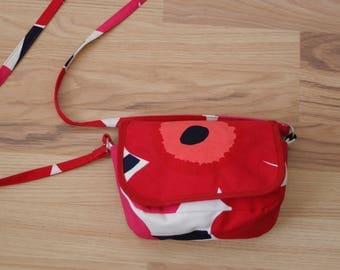 MARIMEKKO fabric floral print small crossbody bag PIENI UNIKKO design bright red popies print Canvas shoulder purse bag Marimekko accessory