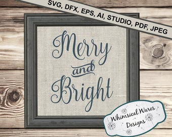 Christmas svg, Merry and bright svg, christmas song svg, christmas digital download .studio3 file svg eps ai pdf files all included