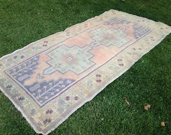 Vintage Rug, Muted Area Rug, Handmade Rug, Turkish Rug, Kilim Rug, Decor Rug, Wool Rug, Bohemian Rug//250 cm x 128 cm = 7,7 ft x 4,2 ft