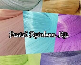 Pastel Rainbow Nylon Doll Hair Kit 7 Hanks Pink Purple Blue Yellow Green Aqua Colours Doll or Pony Reroot Kit DIY Custom OOAK Fashion Doll
