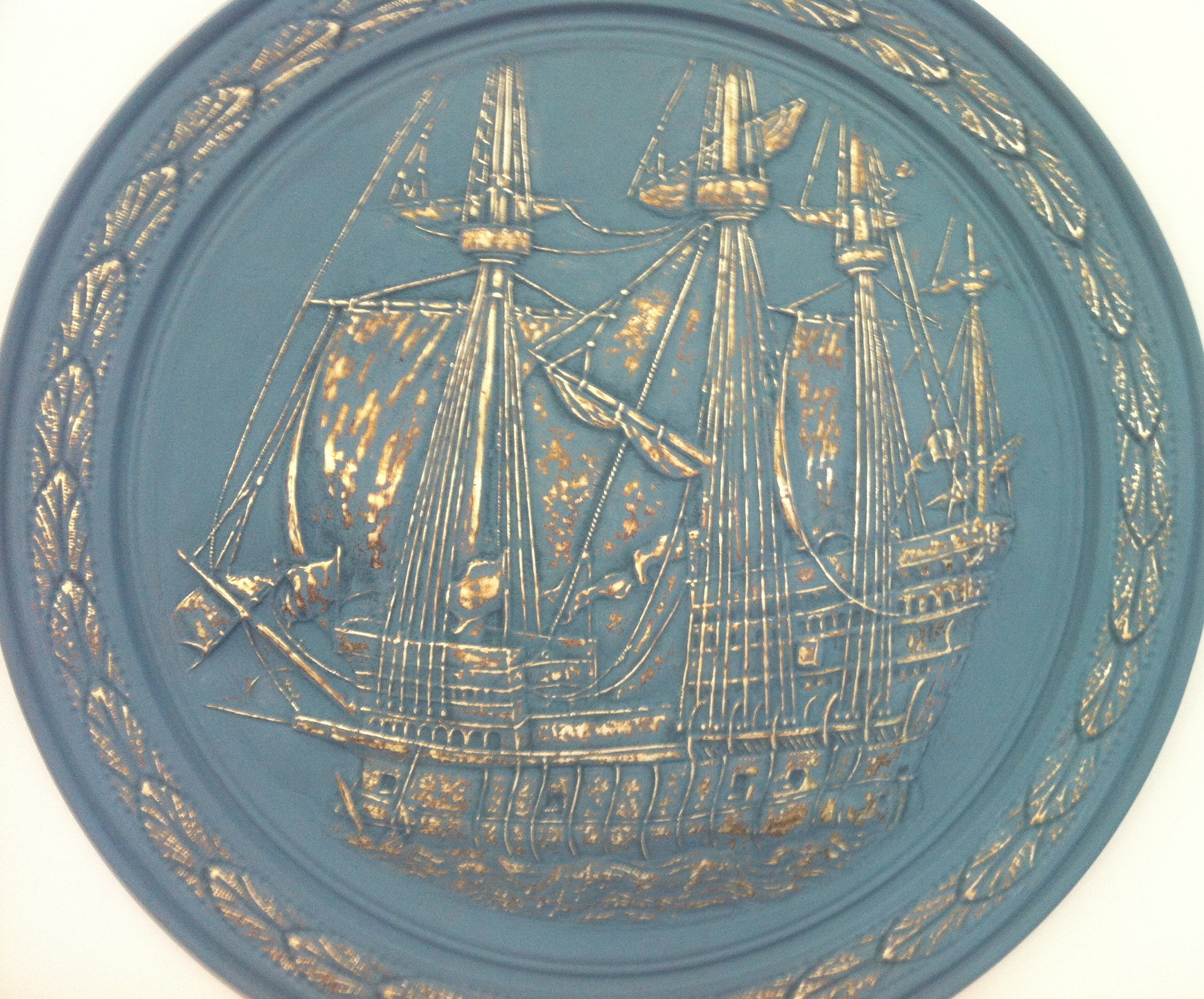 Large Brass Pirate Ship Wall Plate With Chalk Paintbrass Ship Wall