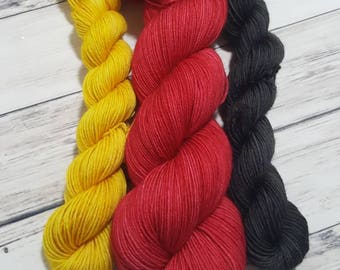 Classic Canadian Tractor Inspired Variegated-Hand dyed sock yarn, Fingering Weight, Socks, Shawls and Accessories-Perfect Sock Kit-Pre-order