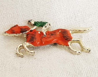 Jackey Horse Equestrian Brooch