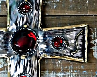 "Mexican metal cross wall decor vintage look hand made with red glass color beats and metal 9.25"" x 7.25"" x .75"""