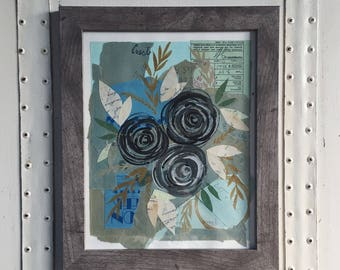 Original Flower Collage // Paint and Torn Paper Collage // Original Floral Art // Collage and Painting // Dark Blue and Black Floral Art