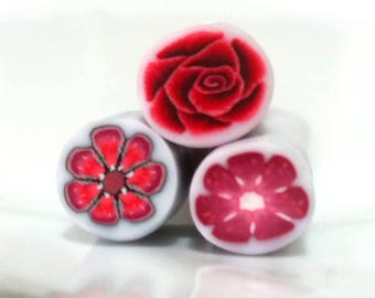 3 millefiori canes red rose polymer clay cane