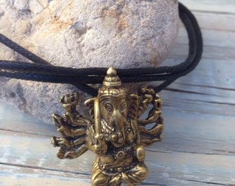 Lord Ganesh pendant- brass pendant- Ganesh necklace-God of success pendant- yoga meditation- unisex- gift