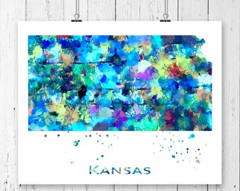 Kansas Watercolor Map #3 Art Print, Poster, Wall Art, Contemporary Art, Modern Wall Decor, Office Decor