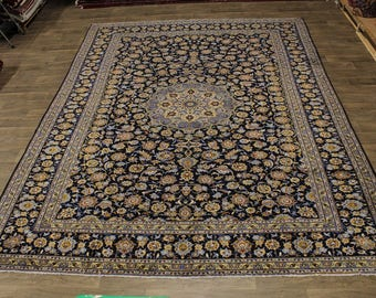 Amazing Design Hand Knotted Navy Kashan Persian Rug Oriental Area Carpet 10X13