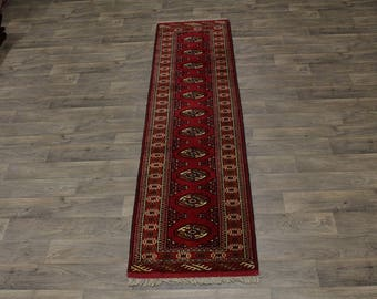 Great Shape Handmade Red Runner Turkoman Persian Area Rug Oriental Carpet 2ʹ5X10