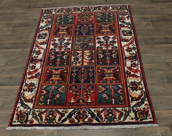 5X7 Garden Design S Antique Bakhtiari Persian Area Rug Oriental Carpet 4'6X6'10