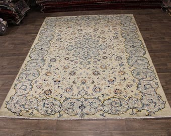 Excellent Hand Knotted Semi Antique Kashan Persian Rug Oriental Area Carpet 9X12