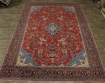 10X14 Charming Handmade Signed Sarouk Persian Rug Oriental Area Carpet 9'6X13'7