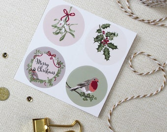 Christmas Stickers, Festive Envelope Seals