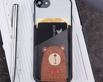Credit Card Holder Phone Sticker Phone Accessories Phone Pocket  Printed Bear Gift For Her Credit Card Case CL1224