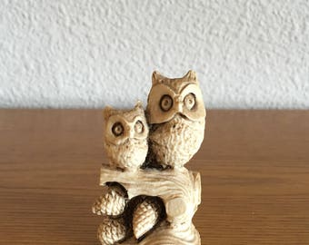 Vintage Owl and Owlet Figurine- Resin Owls in a tree Figurine