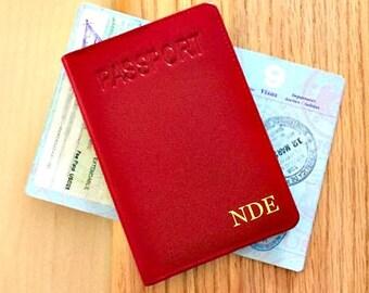 Custom passport holder, personalized passport holder, RFID passport holder, 3rd anniversary gift , leather anniversary gift for her * Red