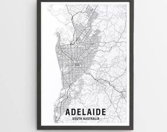 Adelaide Map Print - Black & White / Map / Australia / City Print / Australian Maps / Giclee Print / Poster