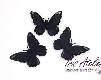 Black embroidered organza double Wings Butterfly individually