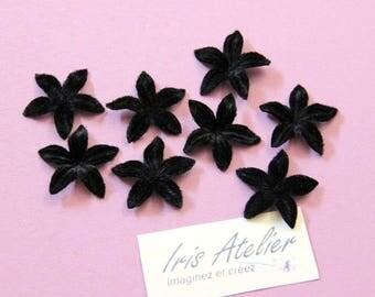 Black velvet flower for scrapbooking, cardmaking, sewing, decoration individually