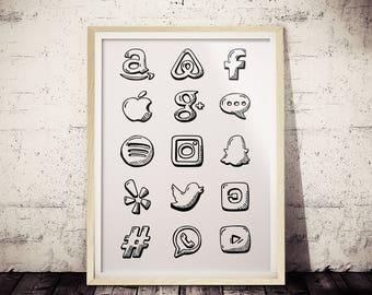 Social ICONS Poster, Black and White Hand Drawn Social Media Print, App Poster, Mobile App, Youtube, Facebook, Twitter, Instagram, Google