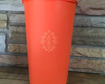 Vintage Orange Tupperware Canister , Lid ,  Servalier , Snack Keeper , Tall Canister , 10 inch , Retro , Mid Century , Kitchen