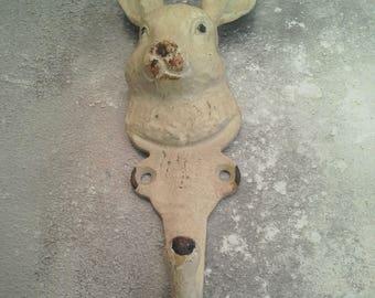 Hare Metal Coat Hook Cream Shabby Painted
