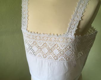 Divine French Antique Hand Embroidered White Cotton Calico Top / Pretty Lace Straps & Edging / Exquisite Tiny Hand Stitched C G Monogram