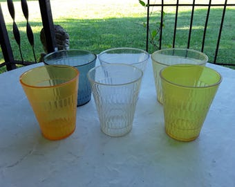 Vintage Plastic Tumblers - 6 Mixed Colored & Size of Oatmeal Glasses