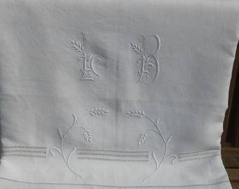 Beautiful antique French linen monogrammed trousseau or dowry sheet LB