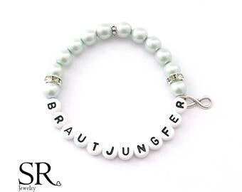 Bridesmaid bracelet gift wedding accessoires letter name pearl