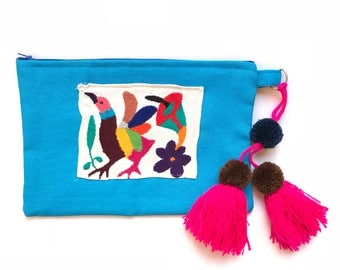 Otomi clutch, Otomi bag, Otomi embroidery, Mexican clutch, Mexican bag, Mexican hand bag, Mexican handmade bag, Embroidered bag, pom pom bag
