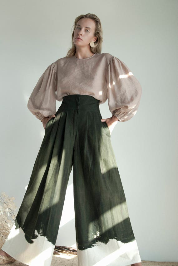 WIDELEG dark GREEN brush TROUSERS
