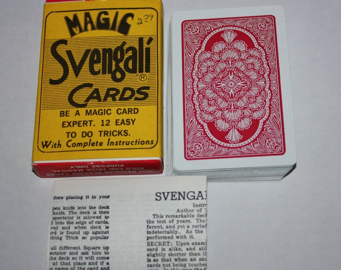 Magic Trick Svengali Cards 12 Easy Tricks with Instructions 1973 Vintage RARE Circus Fun Shop Trick Kards