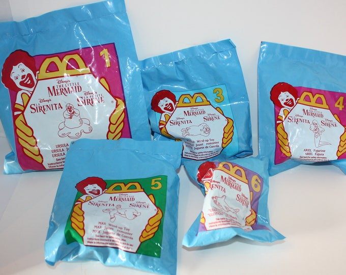 1996 McDonalds Disney's The Little Mermaid Happy Meal Toys Sealed Original Package Lot