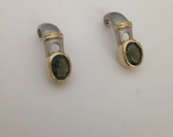 Sterling Silver and Gold Peridot Earrings