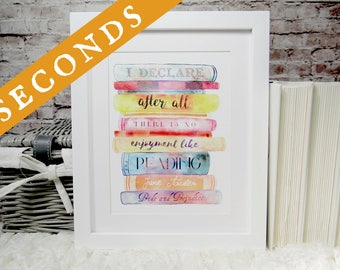 SECONDS SALE | Jane Austen Pride and Prejudice book quote wall art print, typography print, hanging art, literary quotes, library gifts