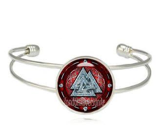 Odins Knot Cuff Bangle Vikings Bracelet Valknut Bracelet Triple triangle Viking Bracelet