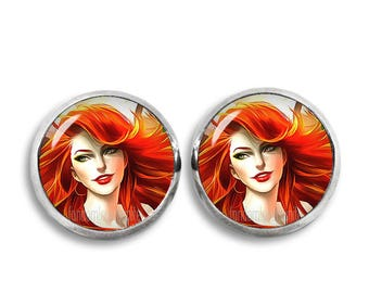 Posion Ivy Earrings Posion Ivy Stud Earrings Comic Earrings 12mm Fandom Jewelry Cosplay Fangirl Fanboy