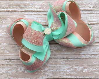 Double stacked hair bows, big hair bows, mint and peach hair bows, peach hair bows, mint hair bows, over the top hair bows,