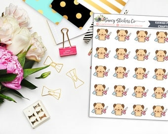 Kawaii Pug Crafting Planner Stickers | for use with Erin Condren Lifeplanner™, Happy Planner