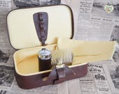 Vintage Mens Grooming Case Cowhide Leather Case Mens Vanity Set Mens Shaving Vintage Gentlemans Vanity Leather Case