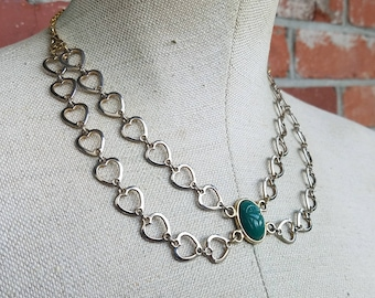 Emerald Green Egytptian Scarab Statement Necklace - Apep, Lord of Chaos -  bib necklace with vintage gold heart chain