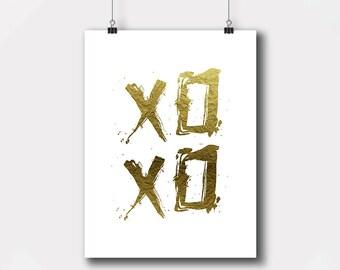 XO, Hugs And Kisses, Printable File, XO Gold Foil Word Art, Modern Wall Art, Home Office Decor, Digital Printables, Instant Download,