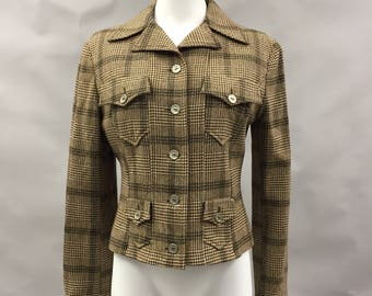 Vintage Christian Lacroix Bazar 1990s Tweed Long Line Jacket, 100% Lambswool - Size 10 UK, 12 USA