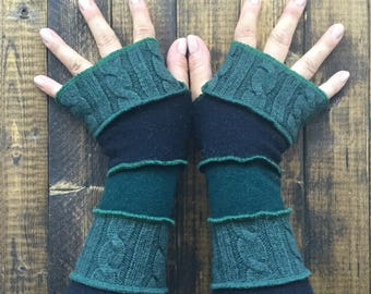 Arm Warmers- Made from Recycled Sweaters// Fingerless Gloves// Team Slytherin