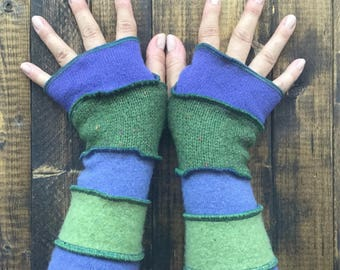 Fantastical Fingerless Gloves// Arm Warmers -Made from Recycled Sweaters// Dragon Gauntlets