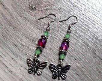 """Earrings silver hooks 925 """"Deilephila Elpenor"""", butterflies, agate, Swarovski Crystal, semi precious beads"""