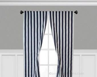 Navy Blue Curtains Navy Stripe Curtain Panels Window Treatments Custom Drapes Nautical Home Decor Valance Kitchen Nursery Curtains